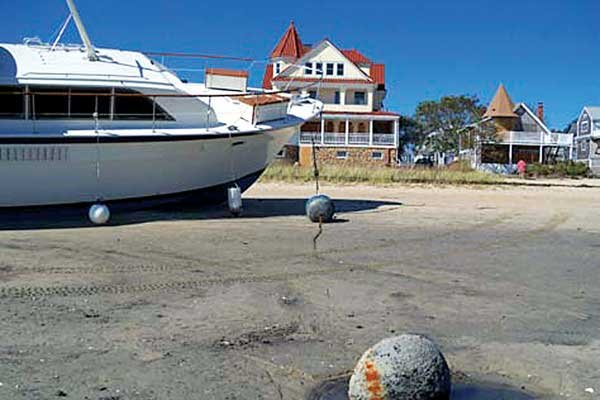 Photo of damaged boat after Hurricane Irene