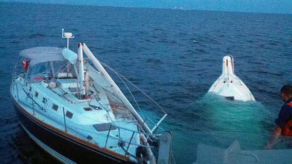 Good Photo Of Aftermath Of A Collision Between A Sailboat And A Powerboat