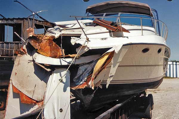 Photo of boat collision damage