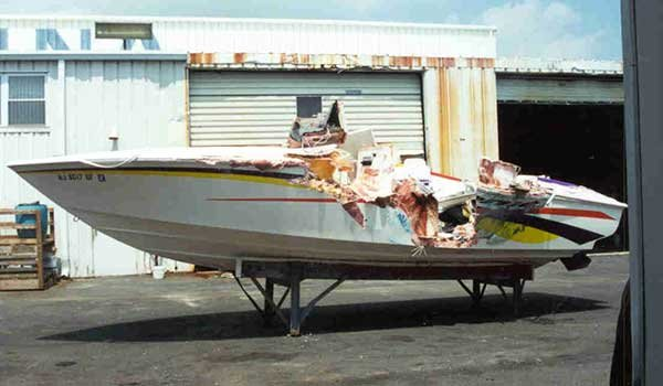Photo of a side impact boat collision