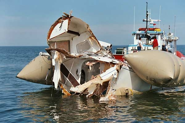 Photo of boat collision aftermath