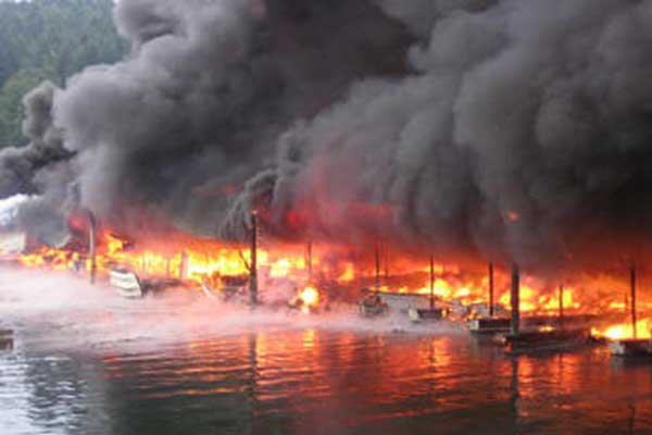 Photo of a marina fire