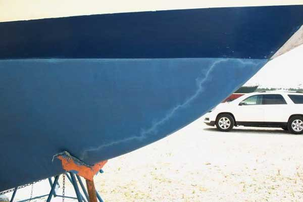 Photo of Lightning track on boat hull