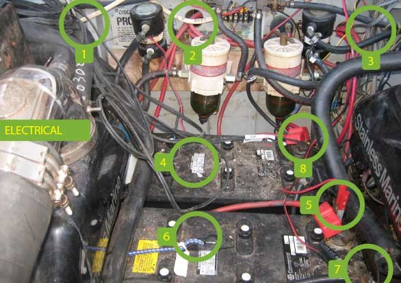 Photo of a twin gasoline-powered boat electrical problems