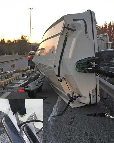 Boat rolled off trailer