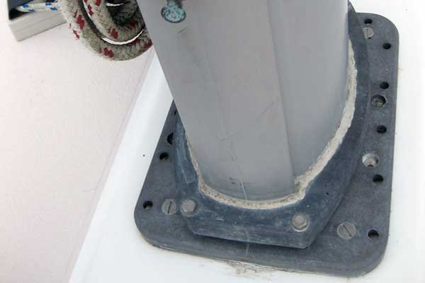 Photo of the base of a mast
