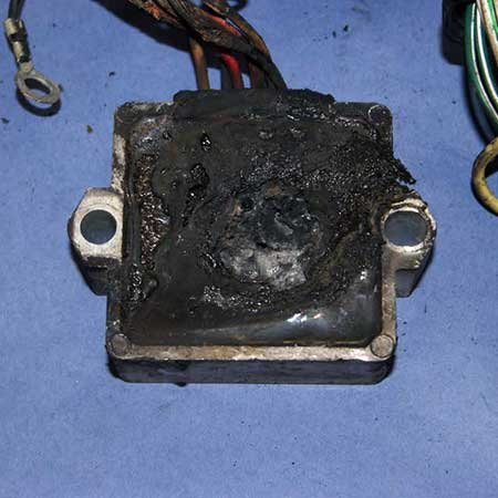 Photo of a charred voltage regulator