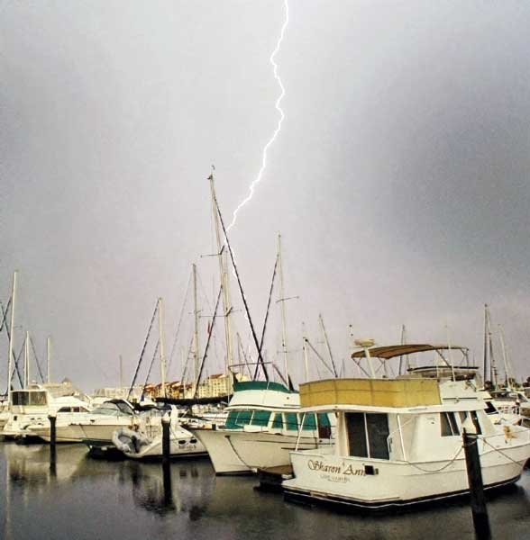 photo of a thunderstorm passing over a marina