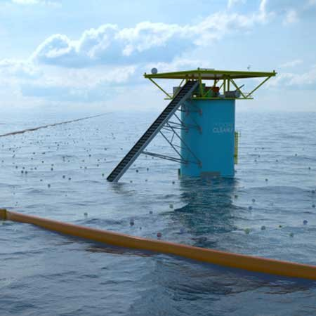 Photo of an Ocean Cleanup Array