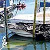 Thumbnail photo of a charred boat at marina