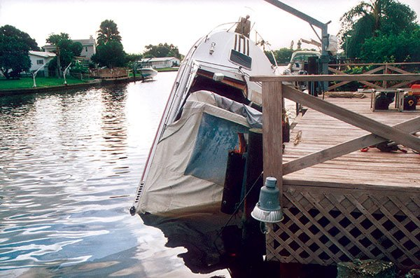 Photo of a boat too heavy for lift