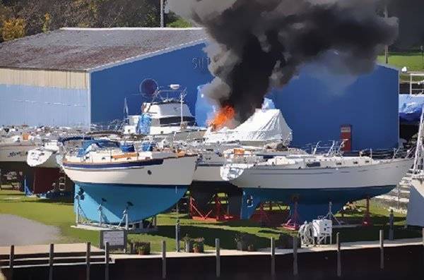 Photo of a heat gun fire on boat while be shrinkwrapped
