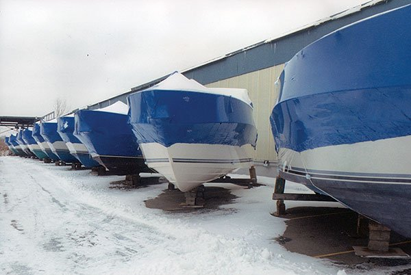 Photo of winter boat storage ashore