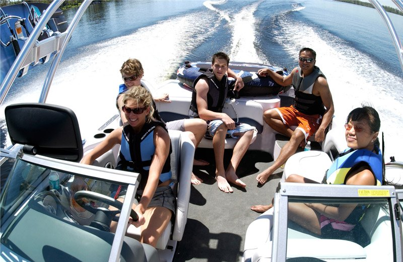 Photo of a group of friends powerboating