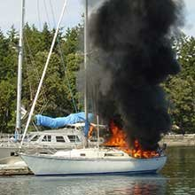 Photo of a sailboat on fire