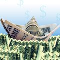 Photo illustration of a boat made of money