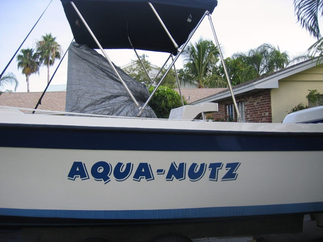 bertram metallic blue lettering boat graphics designs ideas - Boat Graphics Designs Ideas